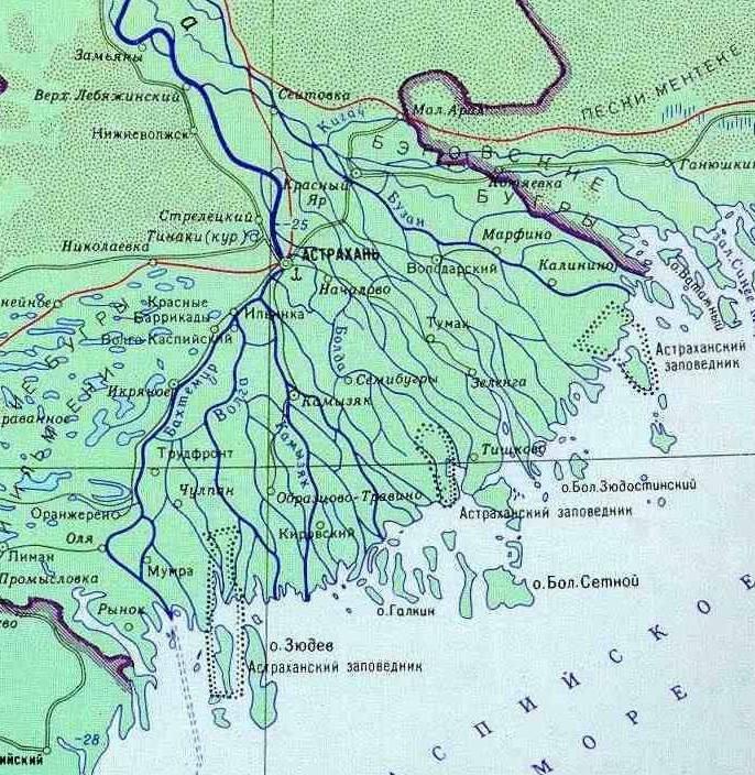 Дельта Волги у Астрахани. Карта