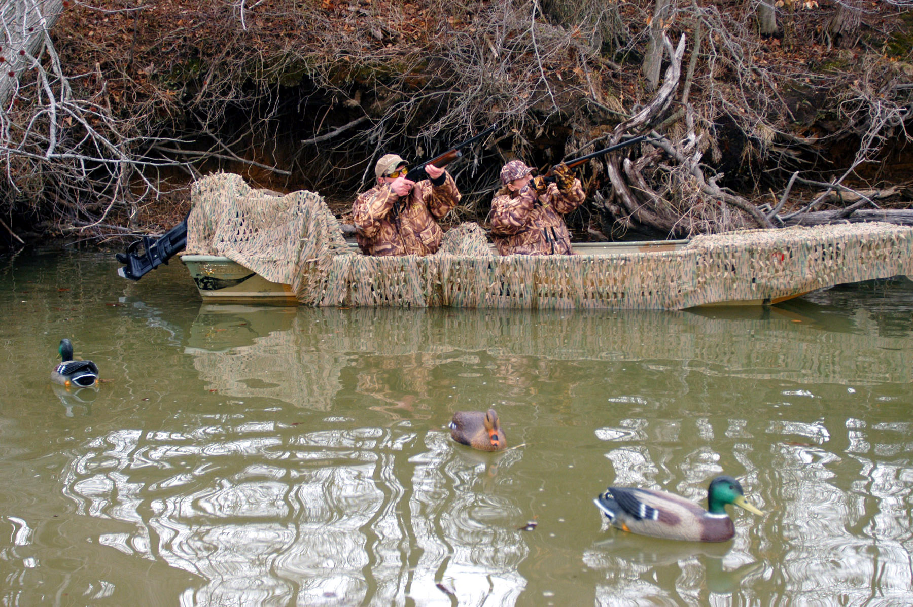 Утиная охота с подъезда на лодке
