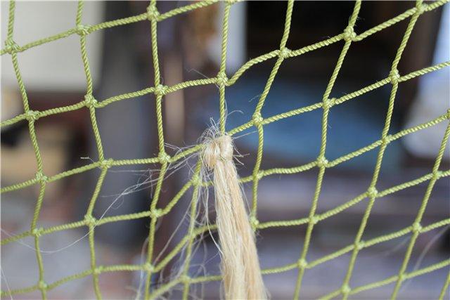 Крепление волокон на готовую капроновую сеть