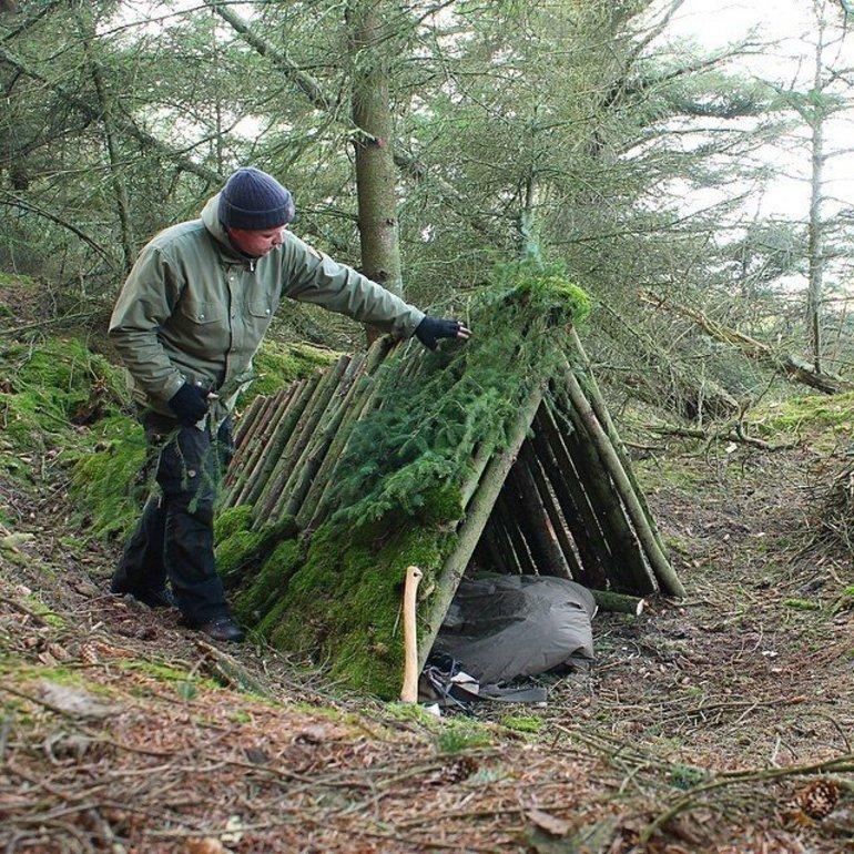 Строительство шалаша в лесу