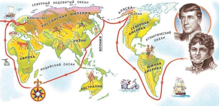 маршрут крузенштерна и лисянского на карте