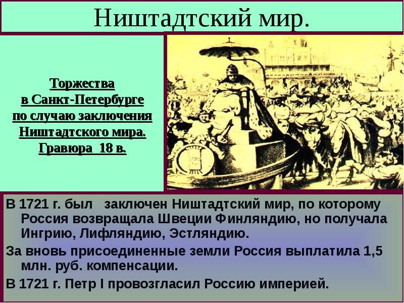 мирный договор северной войны 1700 1721