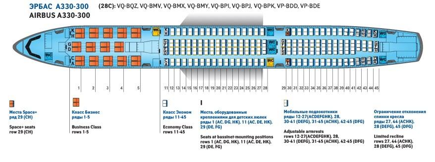 airbus a330 200 схема салона