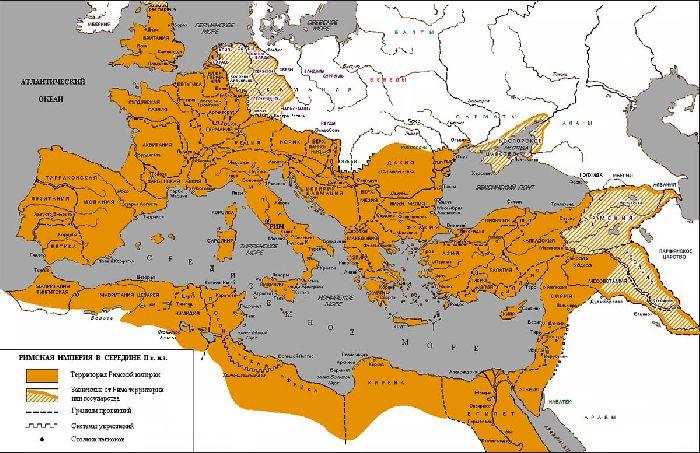 на какие части разделилась римская империя
