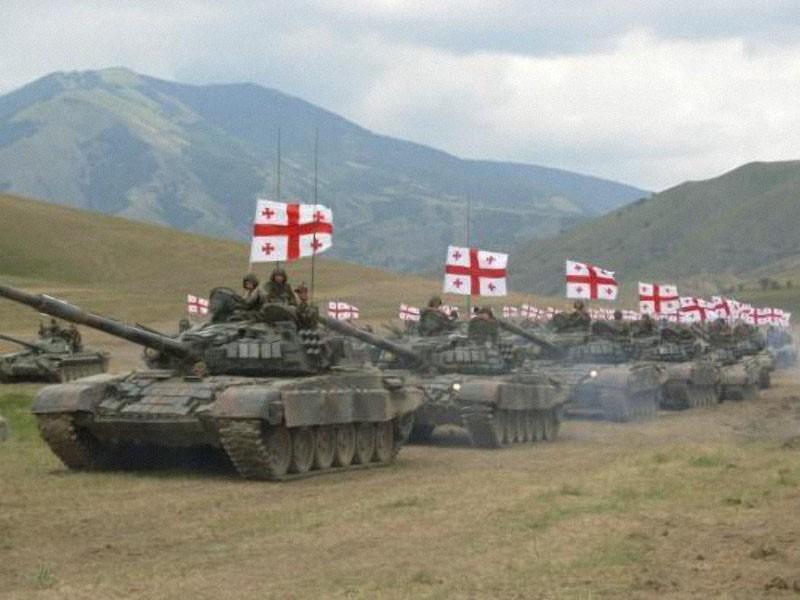 Колонна грузинских танков