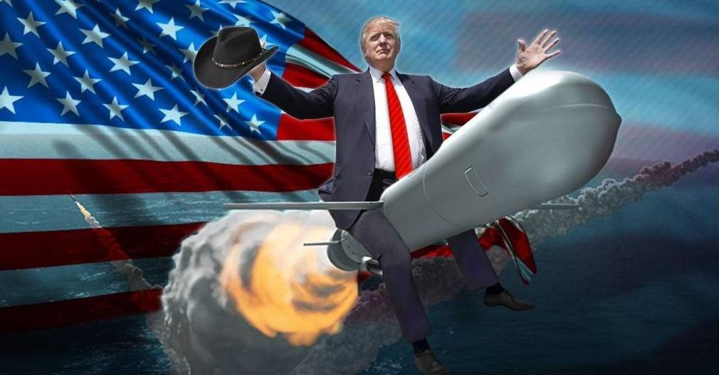 Карикатура: Трамп верхом на ракете