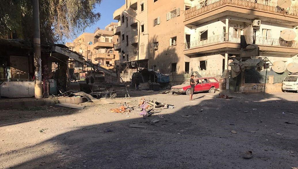 Разбомбленный сирийский город