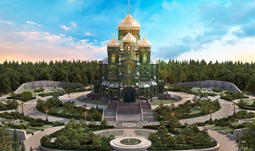 Строящаяся церковь в Пскове
