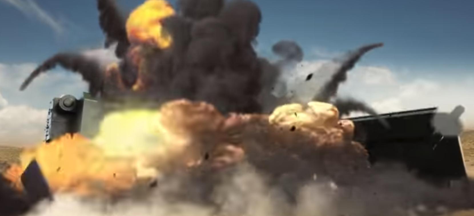 Дрон взрывает бронетехнику на испытаниях