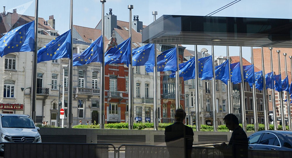 Флаги Евросоюза на здании