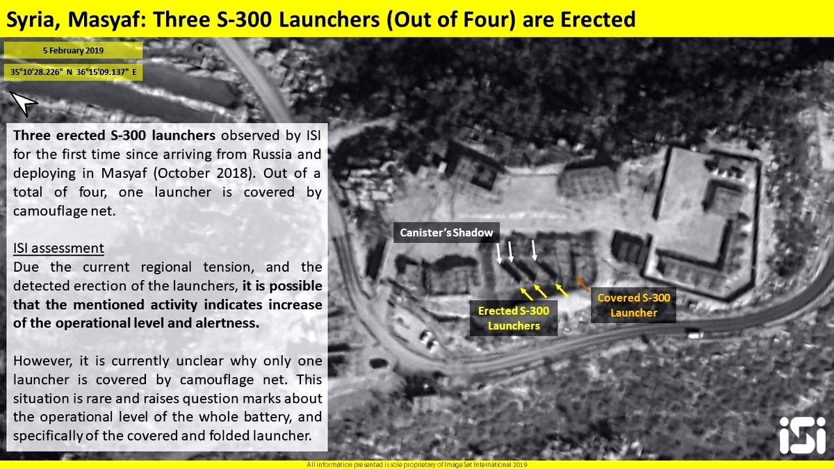 Карта расположения С-300 у Дамаска