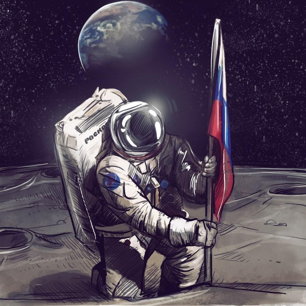 Космонавт водружает флаг