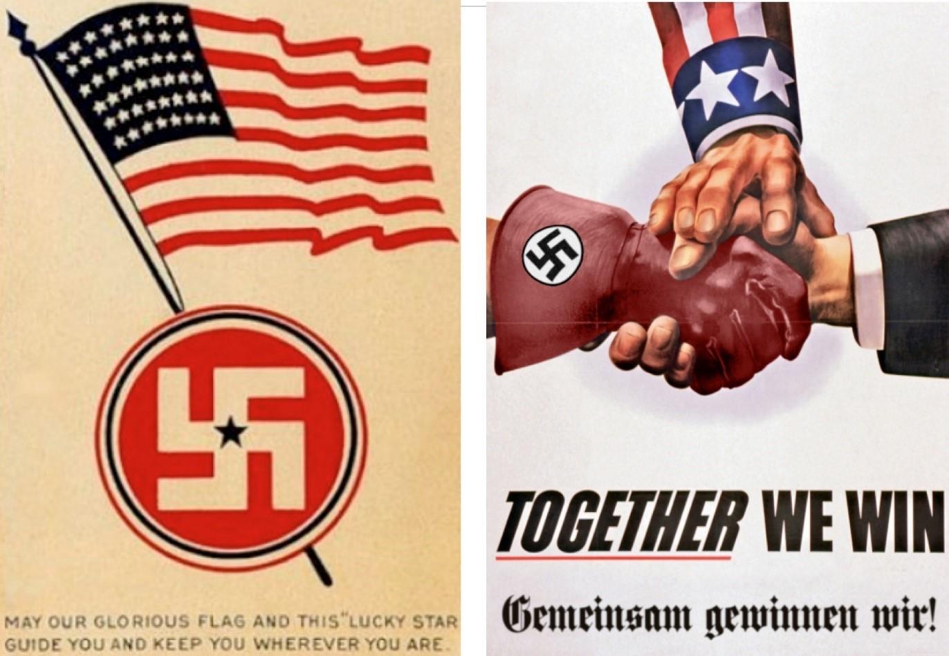 Плакаты об американо-гитлеровской дружбе