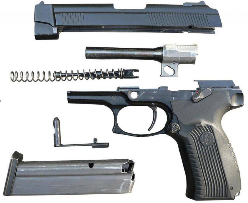 Разобранный пистолет «Грач»