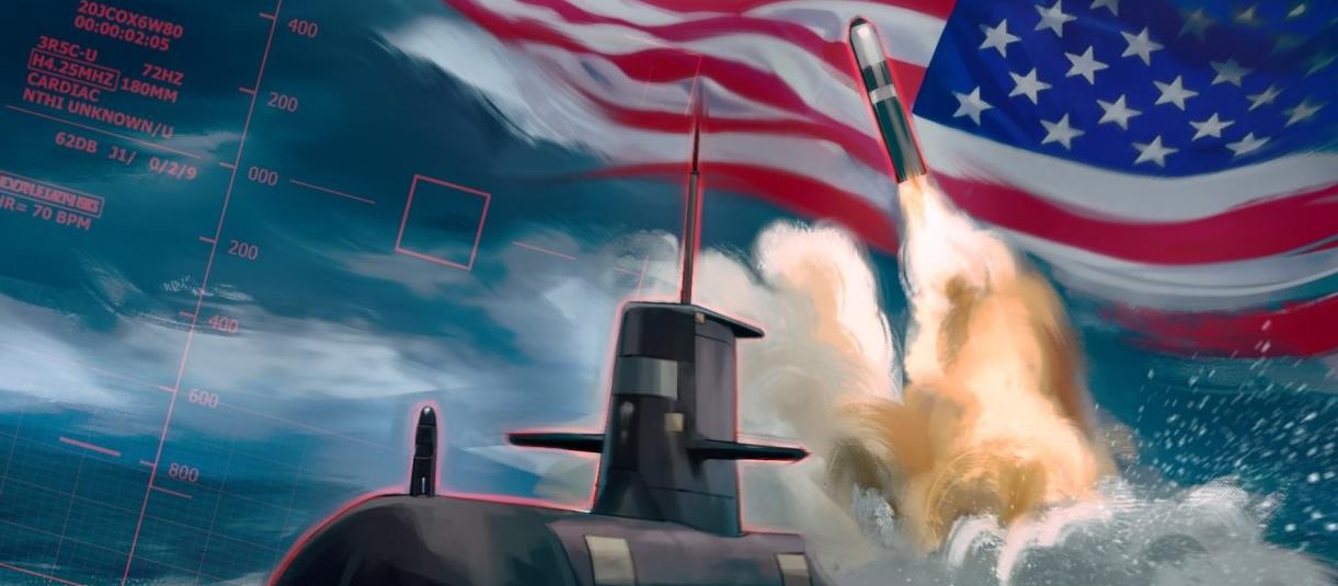 Ядерная ракета на фоне американского флага