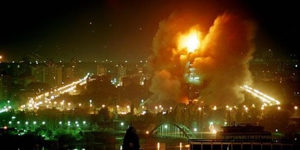 Горящий югославский город