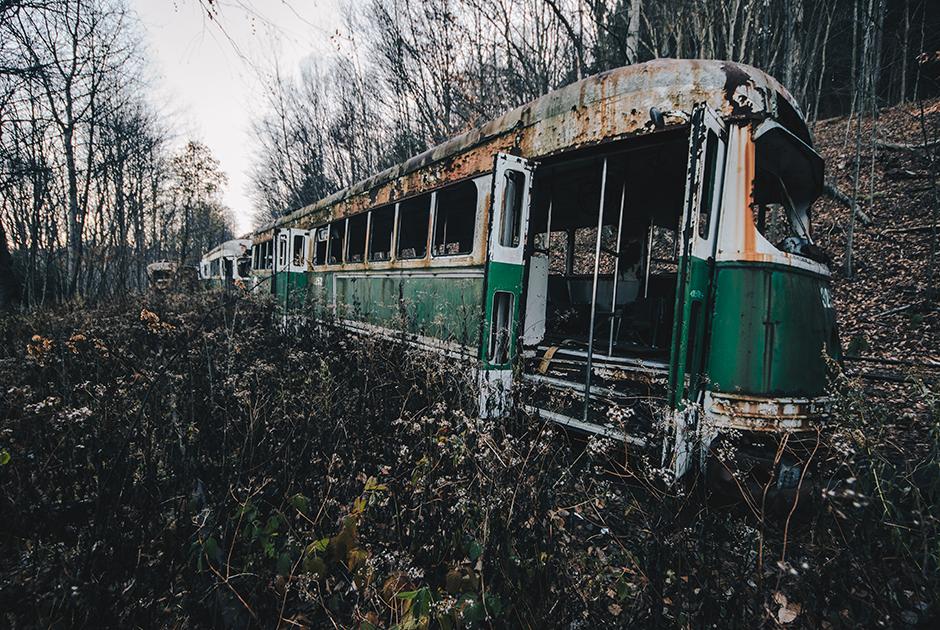 Кладбище старых трамваев в Пенсильвании