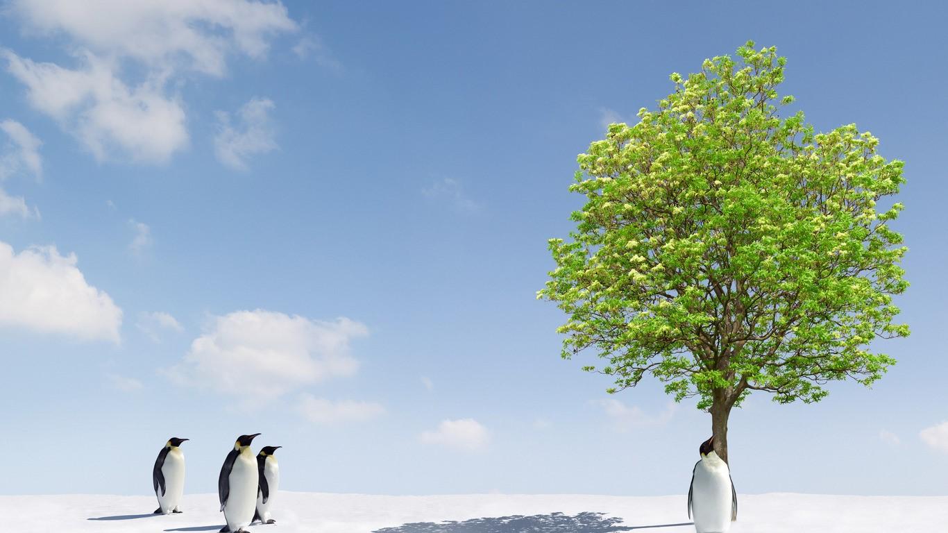 Пингвины под зеленым деревом
