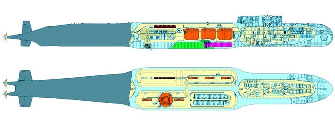 Схема отсеков субмарины К-329