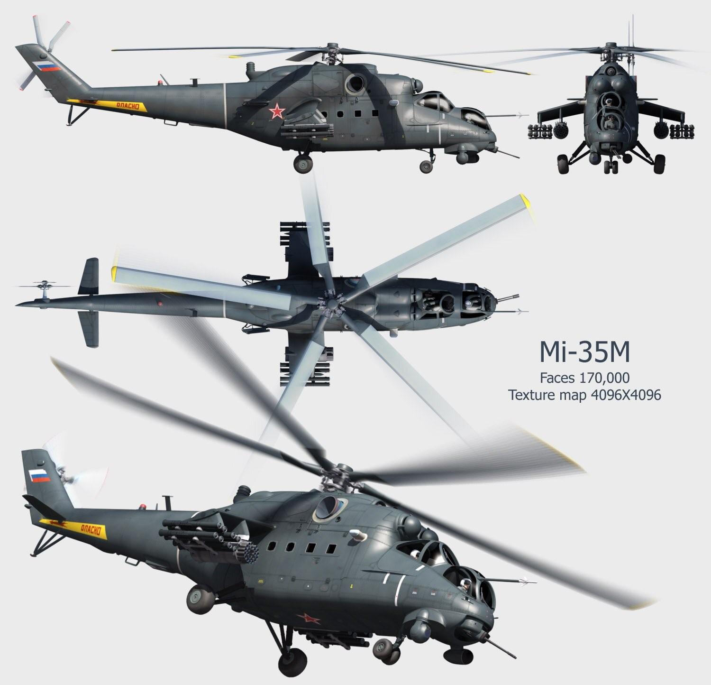 Вертолет Ми-35М: вид сверху, снизу, сбоку и спереди
