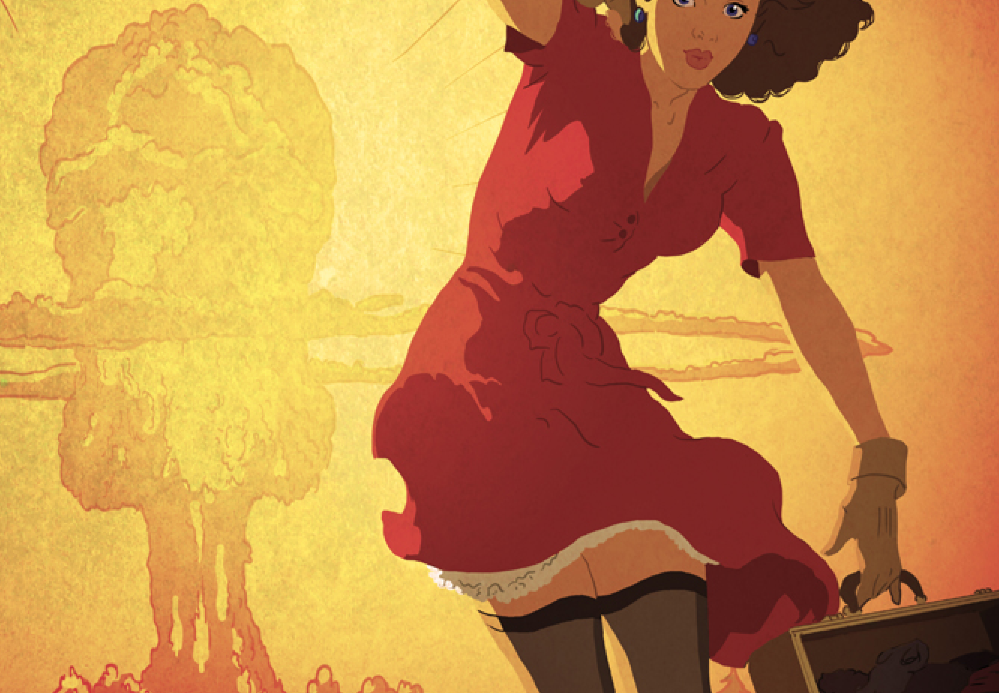 Девушка на фоне ядерного взрыва