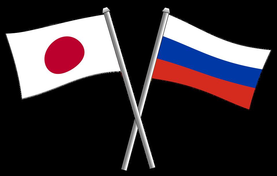 Флаги Японии и России