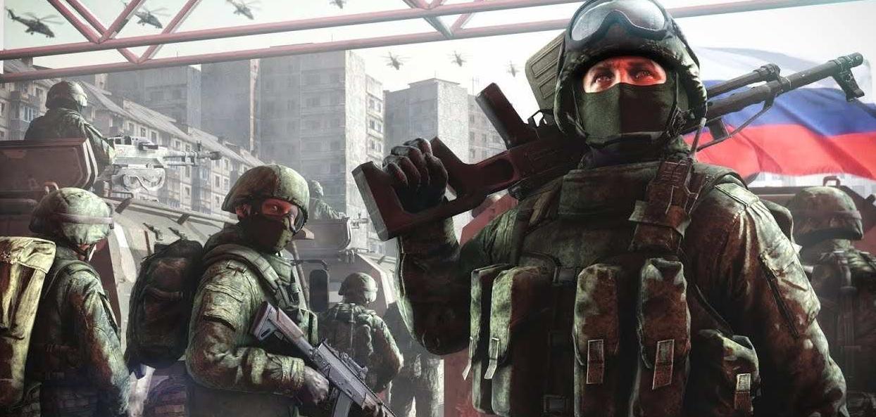 Российские солдаты в городе