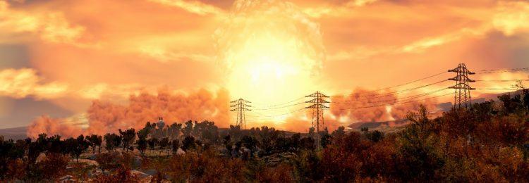 Ядерный гриб на фоне природы