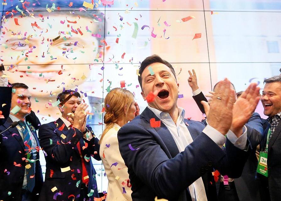 Зеленский празднует победу на выборах Президента Украины