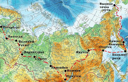 маршрут витуса беринга на карте