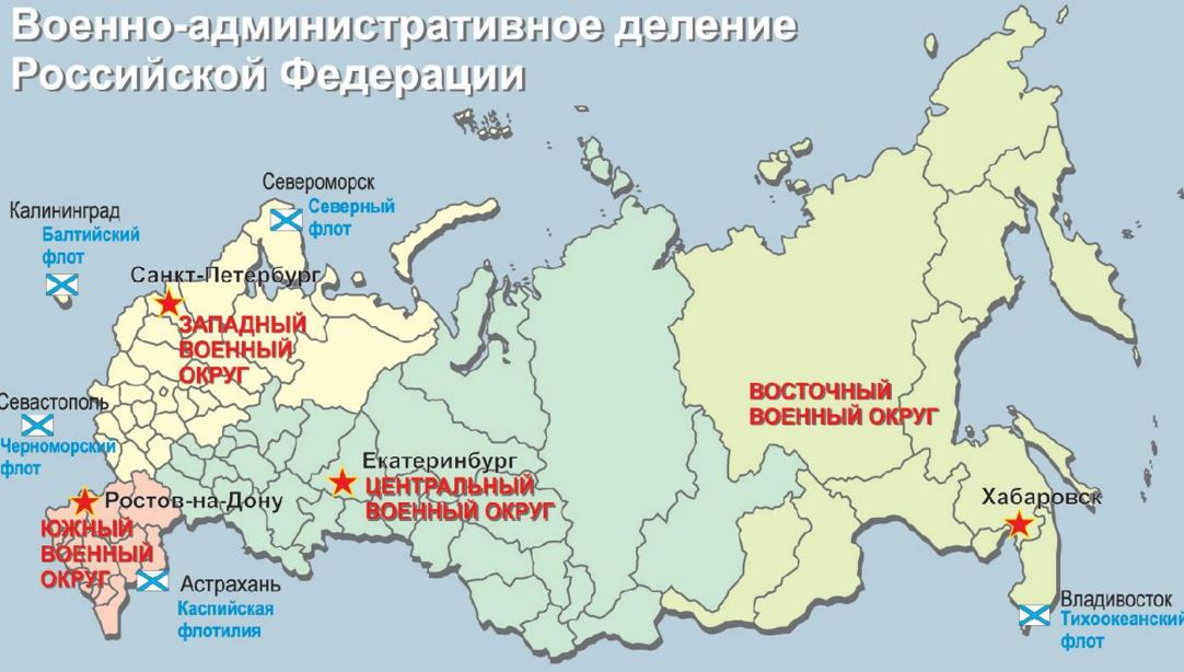 сколько военных округов в рф