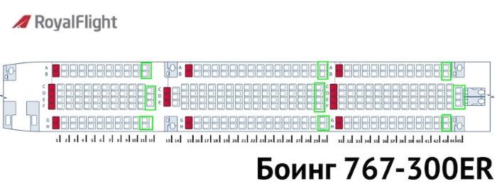 боинг 767 схема салона