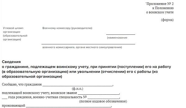 документы для постановки на воинский учет