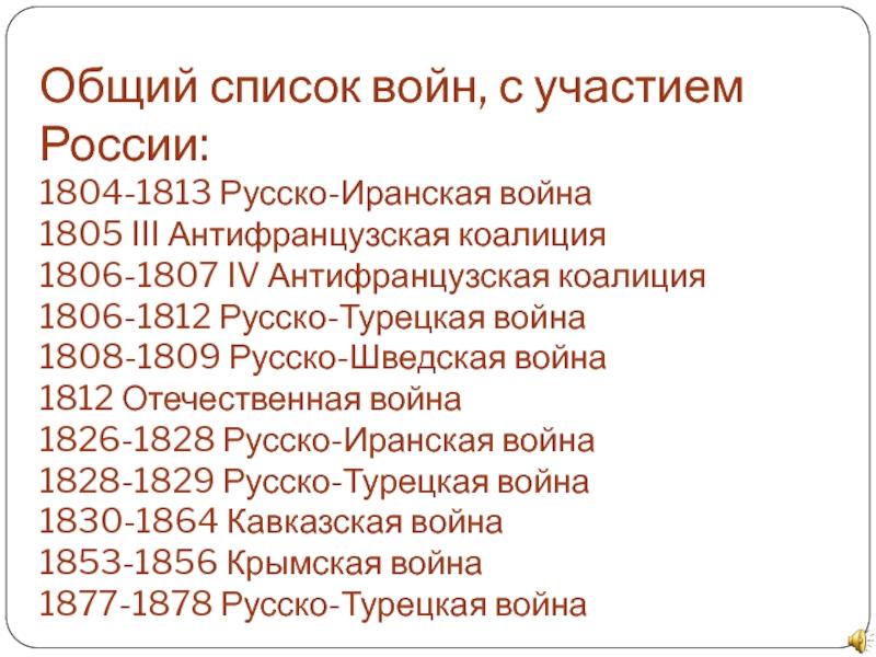 все войны россии за всю историю
