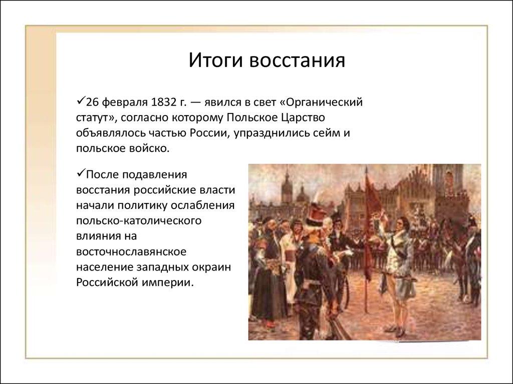 хронология основных событий польского восстания 1830 1831