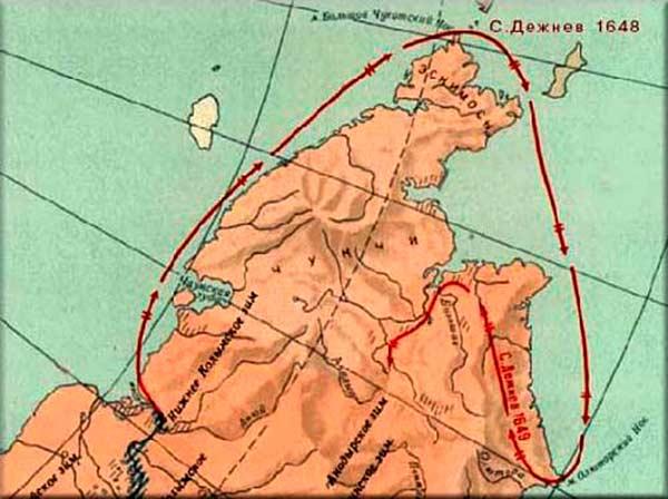 маршрут путешествия дежнева на карте