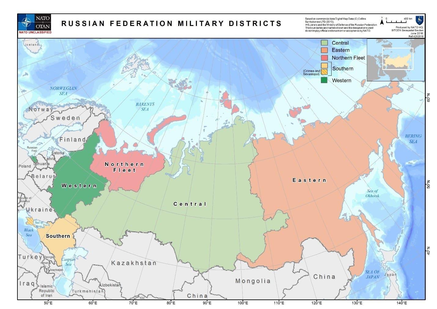 военные округа на карте