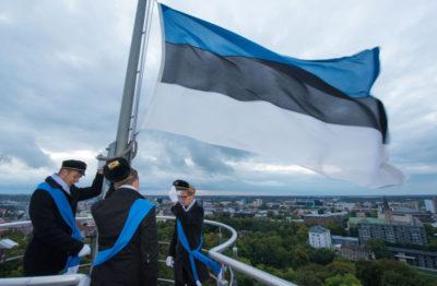 синий флаг с белым крестом