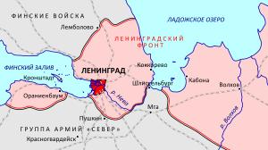 карта ленинграда во время блокады