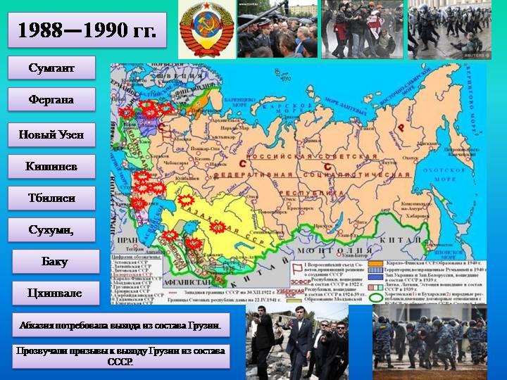 выделите основные зоны межнациональных конфликтов в ссср