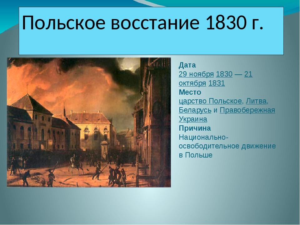 польское восстание при николае 1