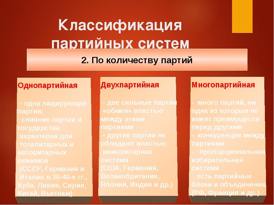 однопартийная система примеры