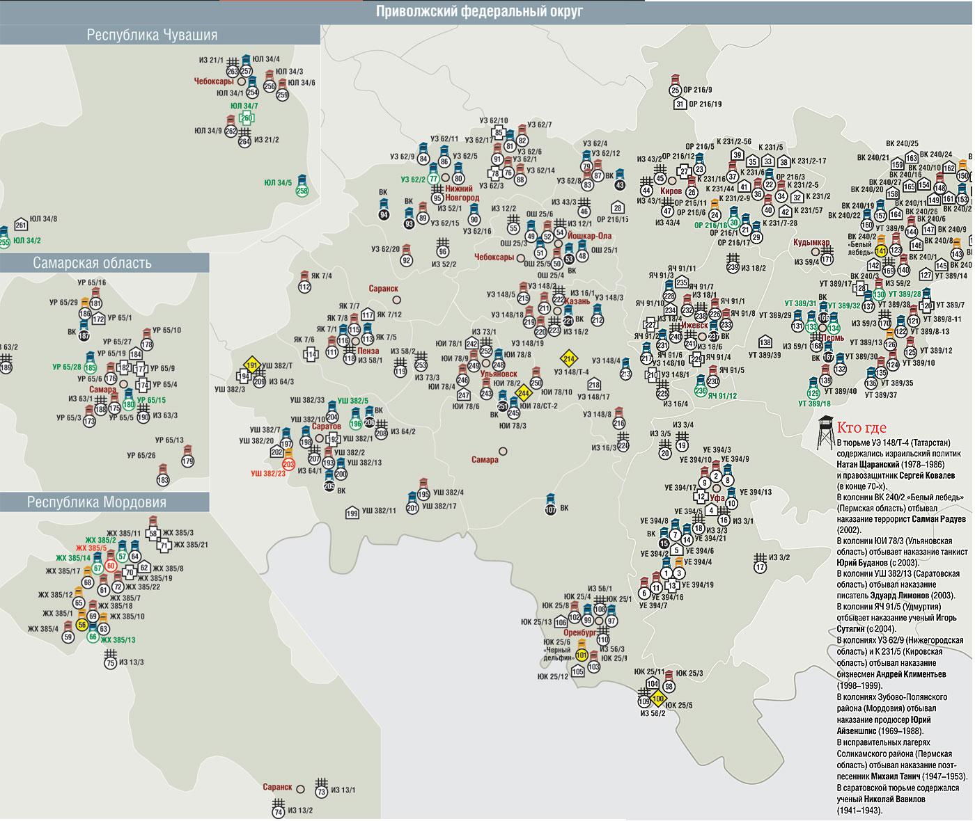 тюрьмы россии список