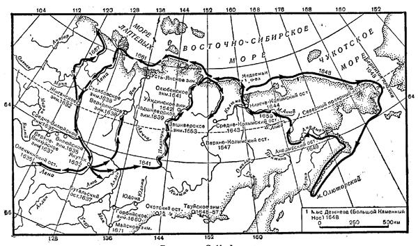 семен дежнев маршрут путешествия на карте