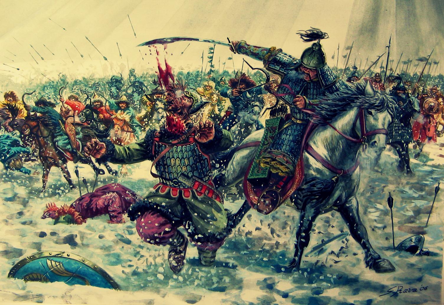 первая встреча русских войск с монголами