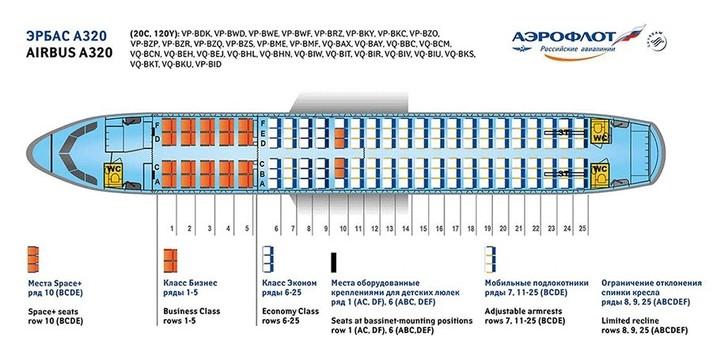 схема мест в самолете аэробус 320