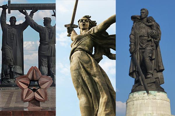 три памятника с мечом