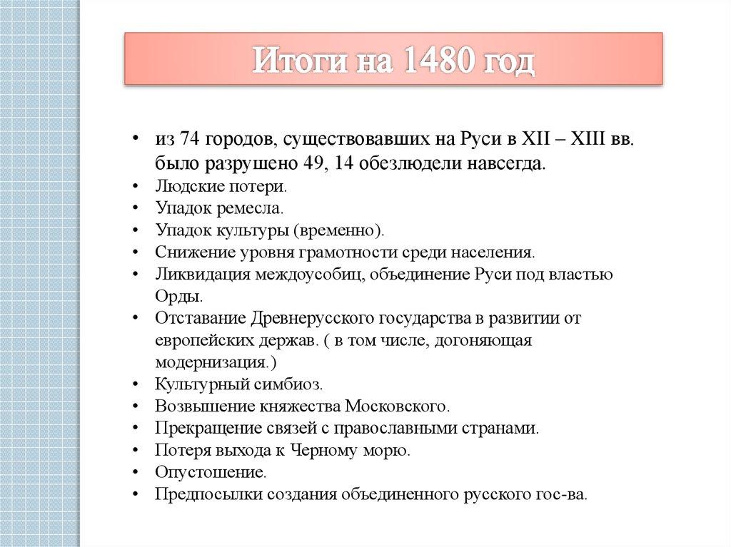 последствия нашествия монголо татар на русь
