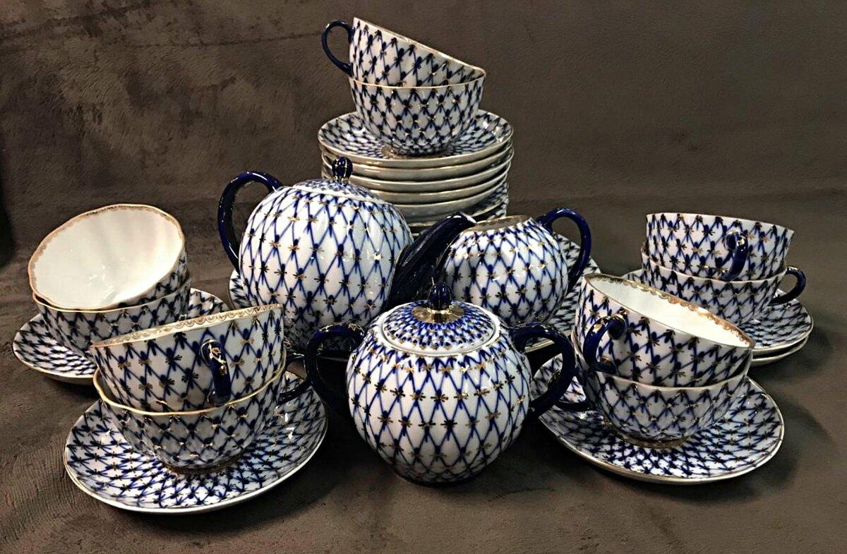 чайный сервиз кобальтовая сетка