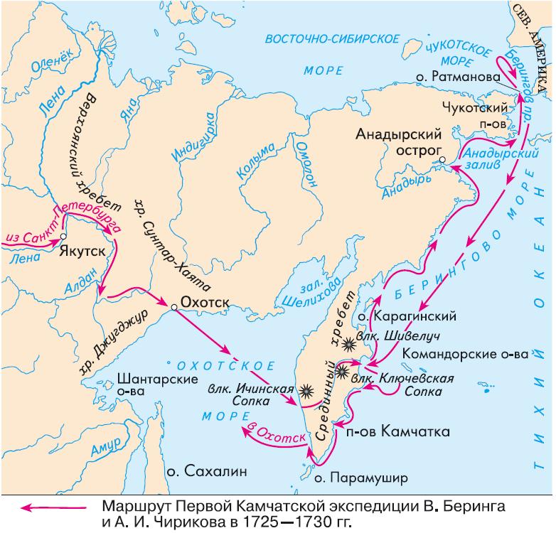 маршрут витуса беринга на контурной карте